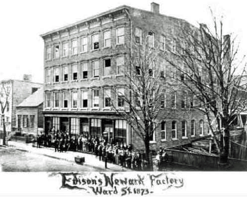 Edison's shop in Newark, N.J., 1873.