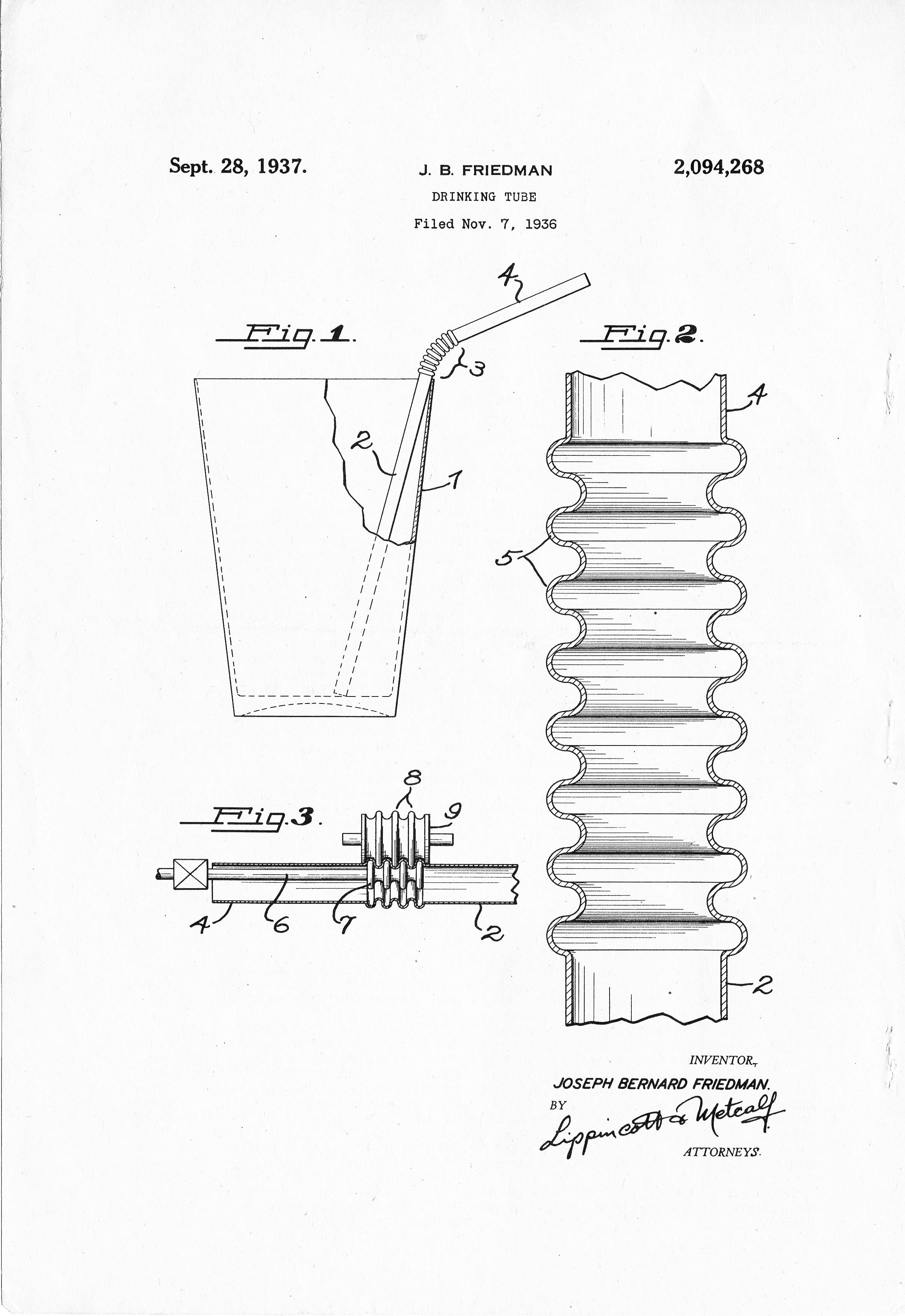 Image of the patent drawing for the flex straw