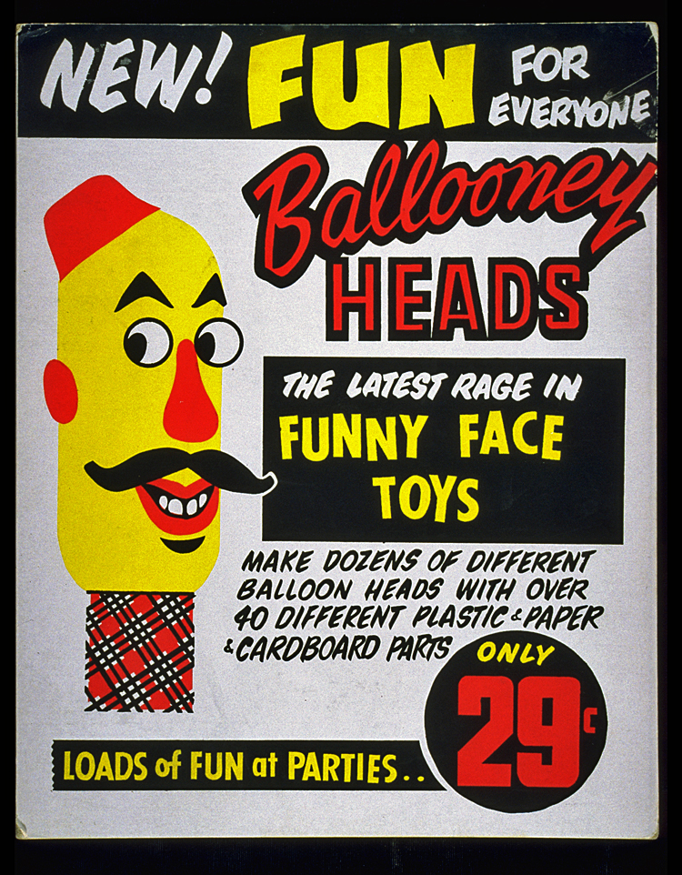 Advertising material for Ballooney Head inflatable toys, late 1960s–1970s