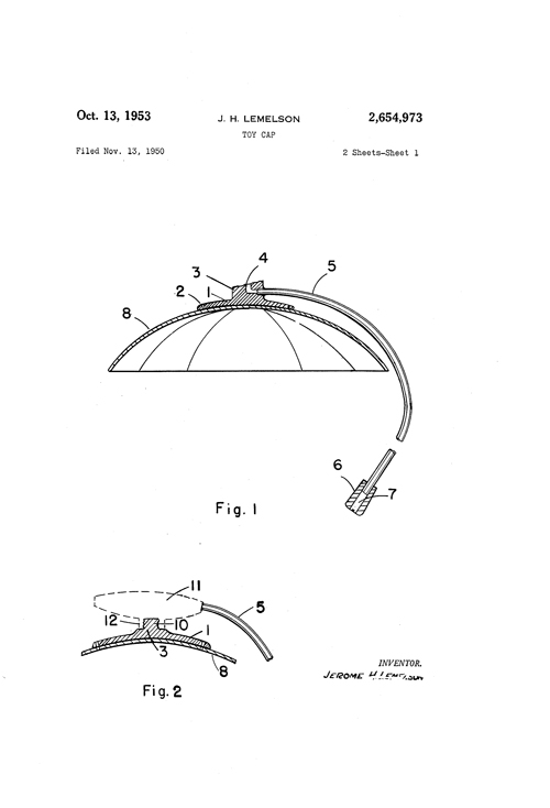 Image of Lemelson patent for cap 1