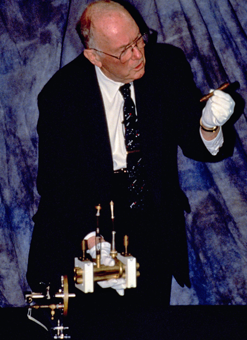 Charles Townes with early maser apparatus, 1998