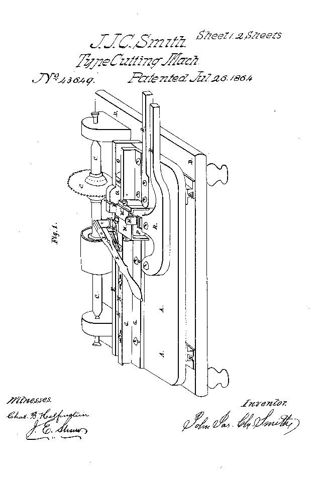 "John Joseph Charles Smith's patent drawing for a ""machine for cutting printers type."""