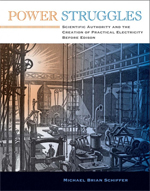 Cover of Power Struggles: Scientific Authority and the Creation of Practical Electricity Before Edison, showing a line engraving of a 19th century machine shop