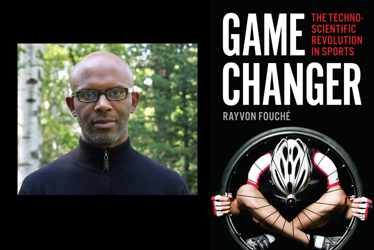 Rayvon Fouche informal portrait photo on left, book cover for Game Changer on right.