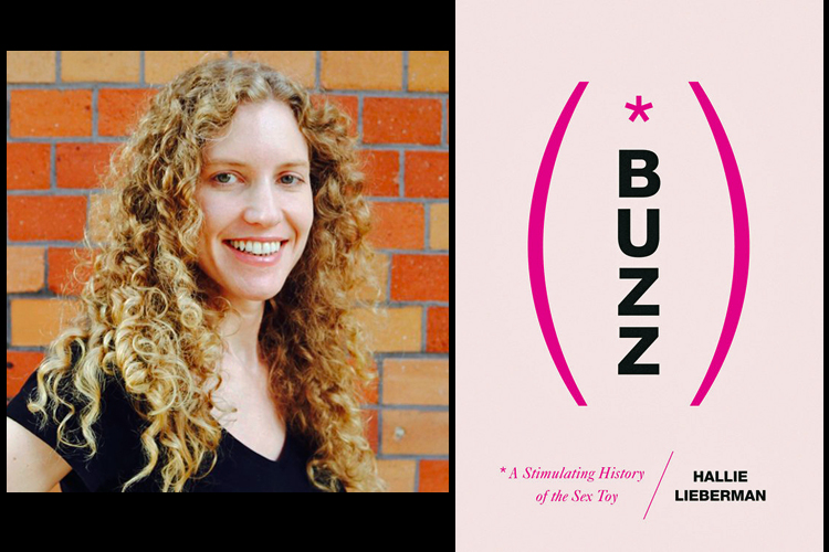 Hallie Lieberman informal portrait photo on left, book cover for Buzz on right.