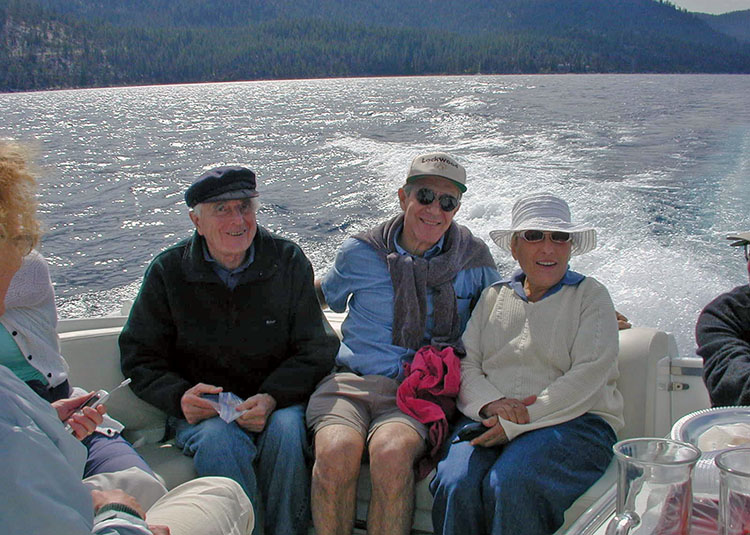 People on a motor boat on Lake Tahoe