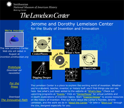 Lemelson Center website, 1998