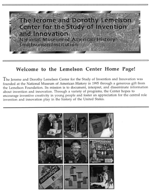 First Lemelson Center website, 1995