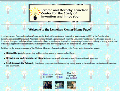 Lemelson Center website, 1996
