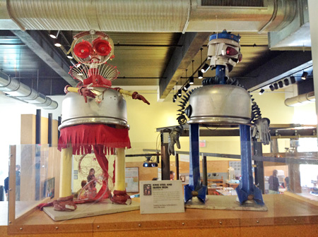 "Throughout the Children's Museum of Pittsburgh, art and technology meet in whimsical ways, as this sculpture of ""King Steel and Queen Iron"" by Devon Smith (2001) illustrates. Photo by Joyce Bedi"