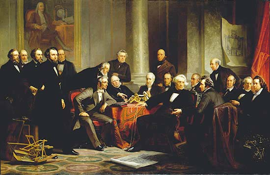 Men of Progress, a painting of a gathering 19 inventors from the 19th century.