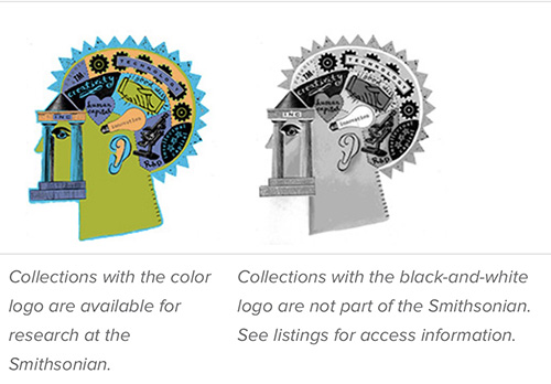 Composite image: color logo = Smithsonian collections; black and white logo = not a Smithsonian collection