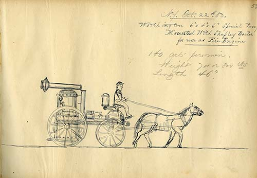 Sketch of Worthington special pump mounted with Shapley boiler, October 22, 1883. Worthington Pump and Machinery Corporation Records (AC0916-0000001)