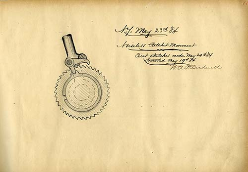 Sketch of noiseless ratchet movement, May 23, 1884. Worthington Pump and Machinery Corporation Records (AC0916-0000002)