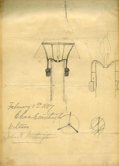 Sketch of lamp by Charles Worthington, February 1, 1887. Worthington Pump and Machinery Corporation Records (AC0916-0000004)
