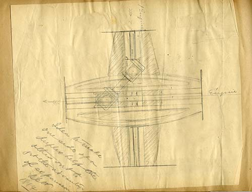 Sketch of duplex engine by Charles Worthington, 1884. Worthington Pump and Machinery Corporation Records (AC0916-0000005)