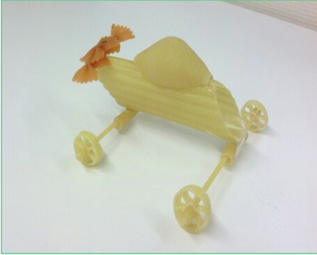 car made of pasta