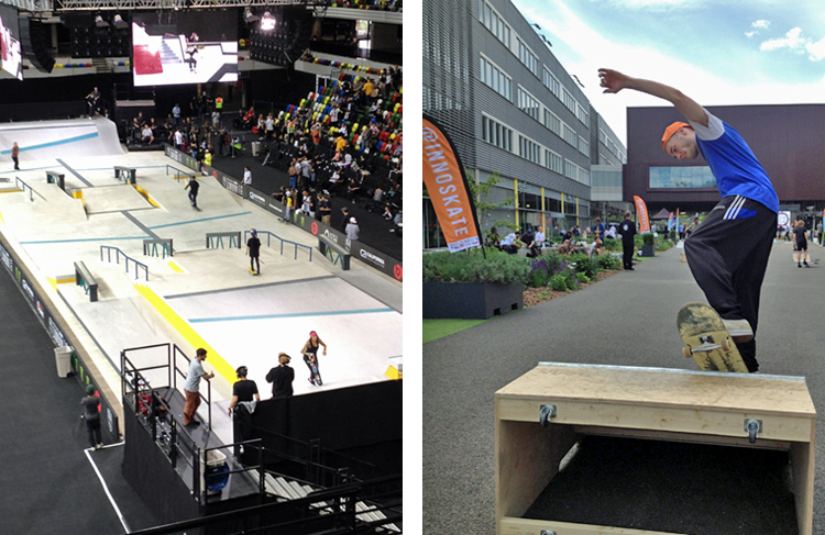 Side-by-side photos. Left: An overhead view of a stadium floor with multiple ramps and skaters performing tricks. Right: A skateboarder mid-trick, arms extended, with his board straddling the edge of an obstacle.