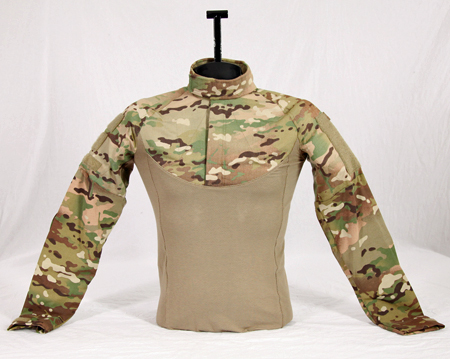 Ballistic combat shirt displayed on a torso form