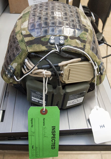 Helmet with solar panels for dismounted soldier power