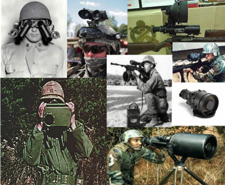 Collage of photos illustrating the history of night vision technology