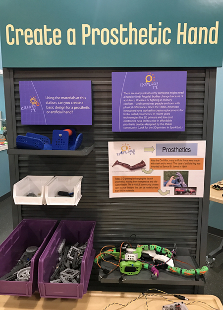 Signage with instructions for the Create a Prosthetic Hand activity in Spark!Lab
