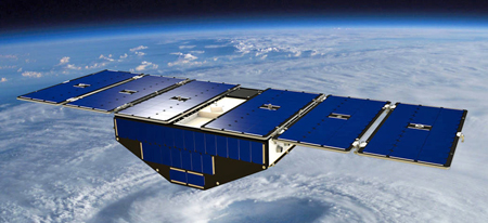 Artist's concept of one of the eight Cyclone Global Navigation Satellite System satellites deployed in space above a hurricane