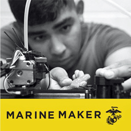 Logo for Marine Maker Initiative showing young man making something