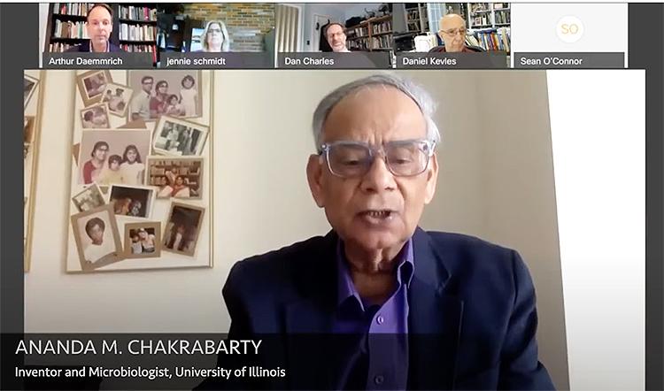 Screenshot from Zoom of Dr. Ananda Chakrabarty speaking