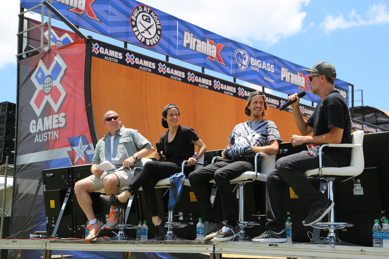 Jeff Brodie, Alexis Sablone, Jaws Hamoki, and Josh Friedberg during an Innoskate panel at X Games.