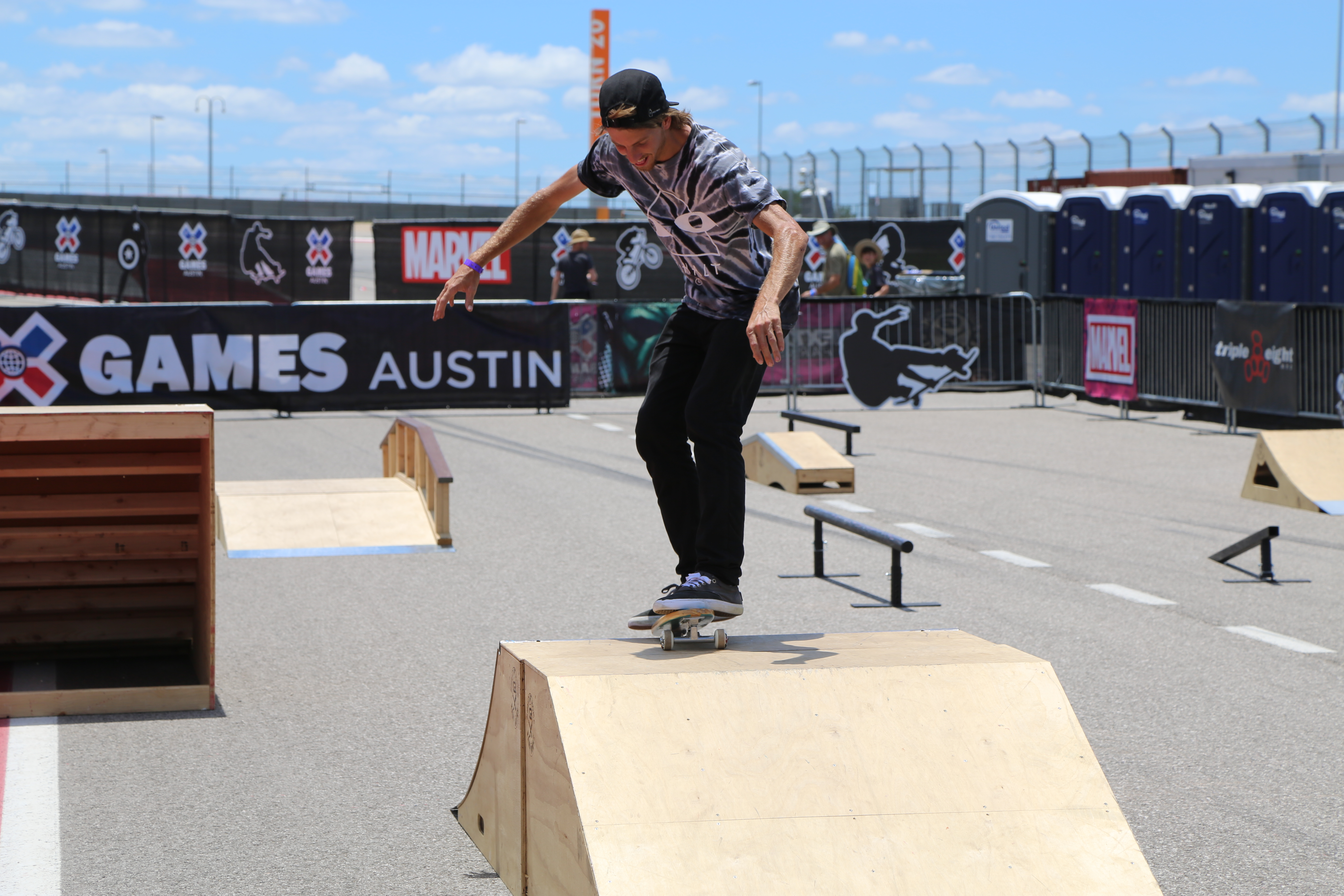 Jaws Hamoki attempts to skate on a 1960s era skateboard during Innoskate at X Games.