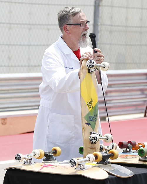 Paul Schmitt explains history of skateboards during Innoskate