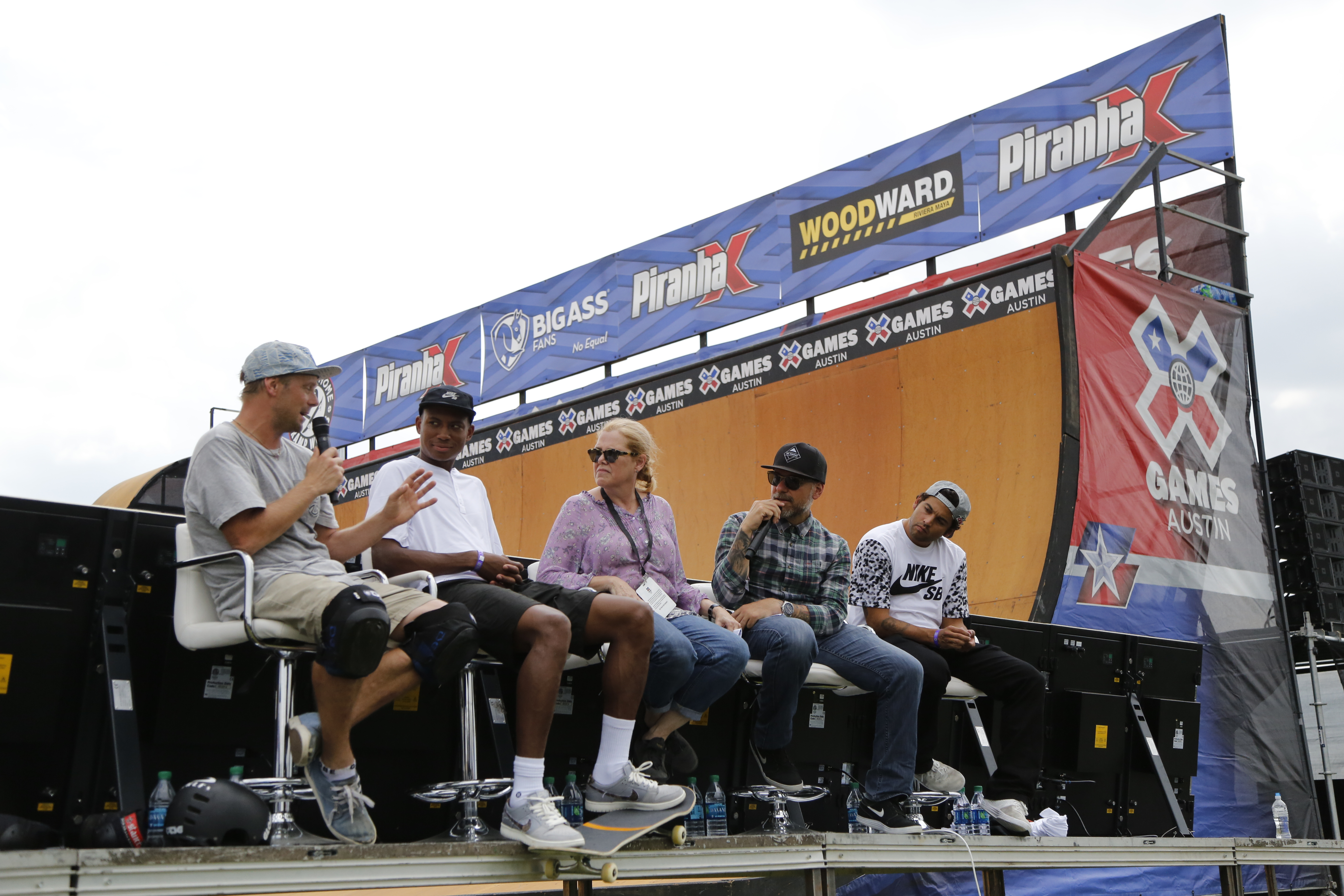 Renton Millar, Ishod Ware, Betsy Gordon, Ryan Clements, and Paul Rodriguez during a panel at Innoskate X Games