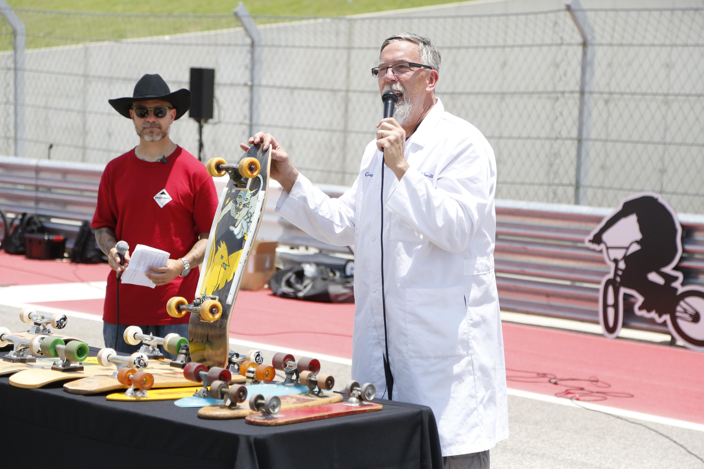 Paul Schmitt shows off historic skateboards at Innoskate X Games