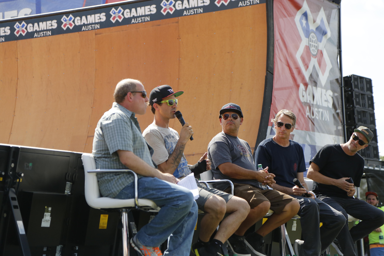 Jeff Brodie, Bob Burnquist, Brain Harper, Tony Hawk, and Josh Friedberg during Innoskate at X Games.
