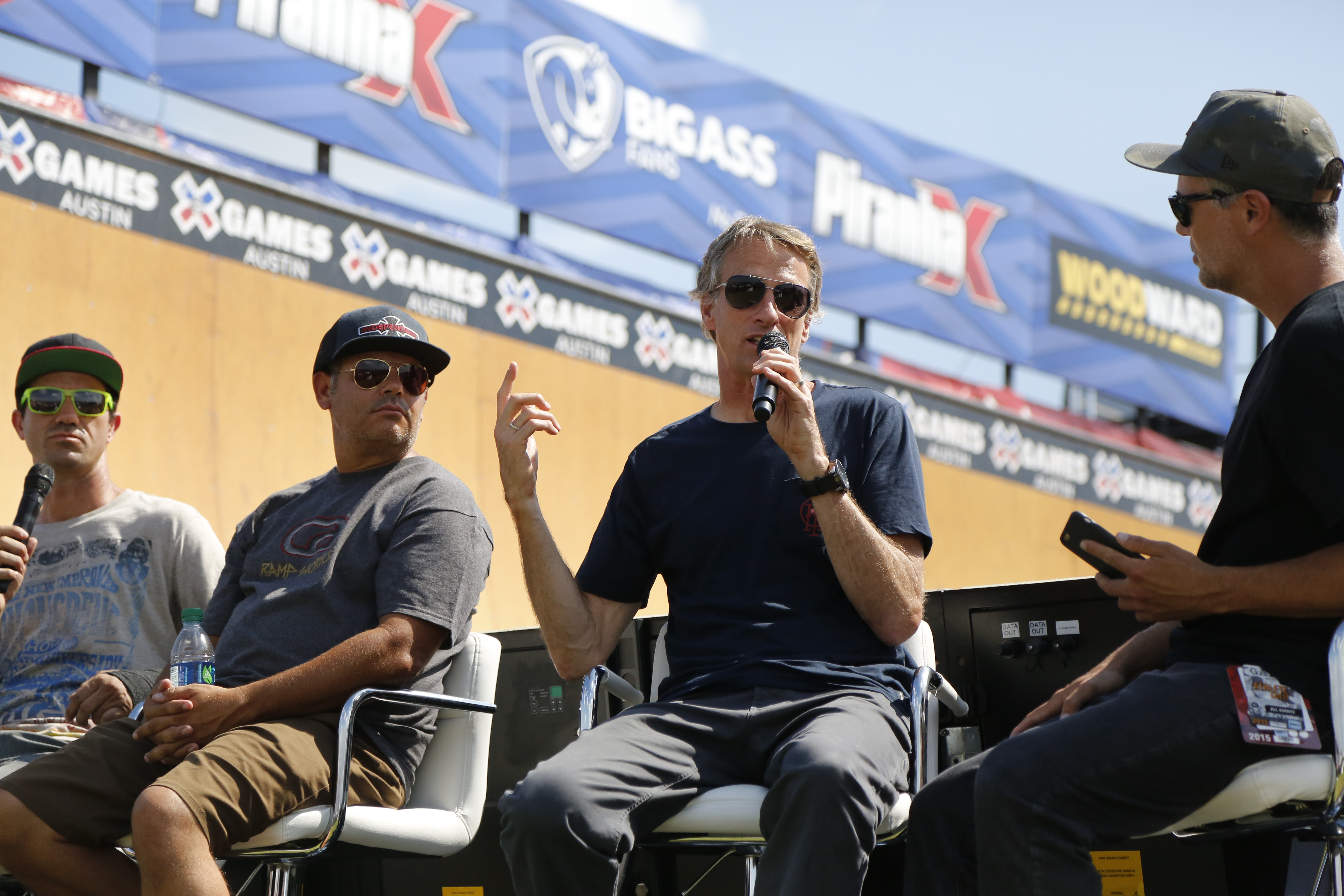 Tony Hawk speaking during the Innoskate panel at X Games panel featuring him, Bob Burnquist and Brian Harper.