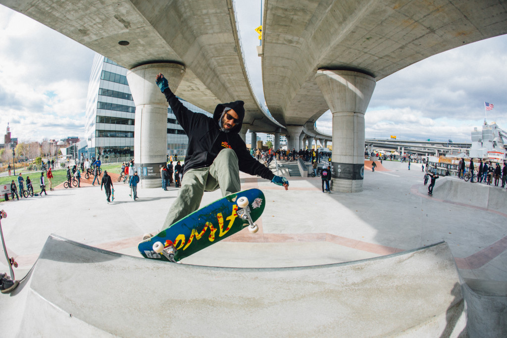 Vans pro skater Tony Alva skates the transition at the opening of the Lynch Family Skatepark.