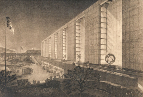 Design rendering of the Museum of History and Technology, now the National Museum of American History.