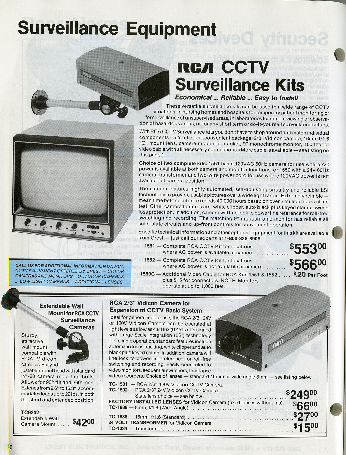 Trade catalog, Crest Electronics, Inc., 1989,