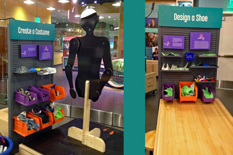 """Two photos side-by-side. On the left, an articulated human cutout on a stand is next to a wall of bins with materials to """"Create a Costume."""" On the right, a wall of bins with materials to """"Design a Shoe."""""""