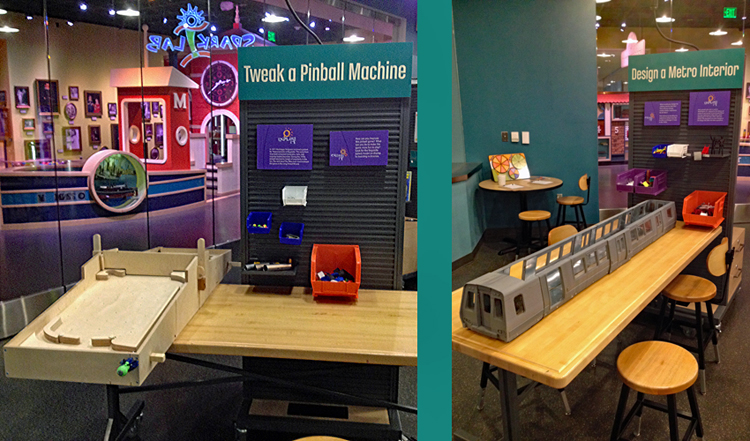 """Two photos side-by-side. On the left, a wall of bins with materials and two handmade pinball machines at a work table to """"Tweak a Pinball Machine."""" On the right, a wall of bins with materials and a model subway train to """"Design a Metro Interior."""""""