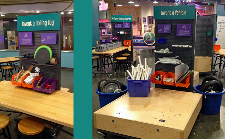 """Two photos side-by-side. On the left, a wall of bins with materials at a work table to """"Invent a Rolling Toy."""" On the right, a wall of bins with materials, plastic tubing, and large wheels to """"Invent a Vehicle."""""""