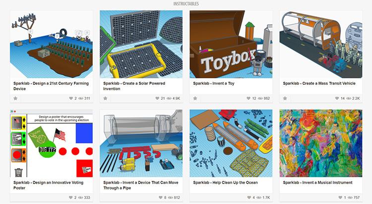 Screenshot of 8 digital invention activities