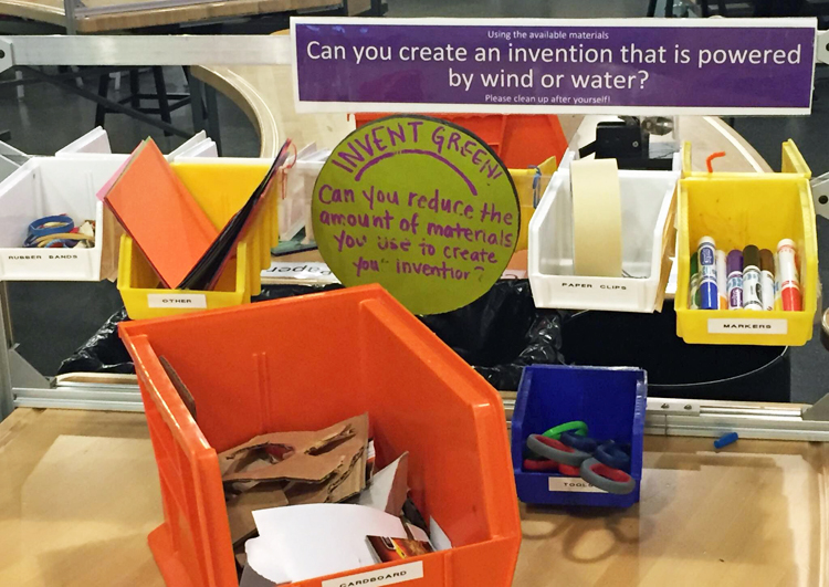 Several bins of craft materials for kids to invent something powered by wind or water