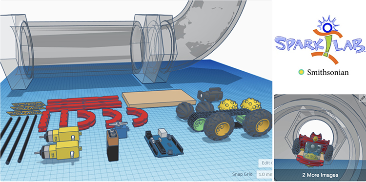 Computer-generated pieces to build something that can move through a pipe