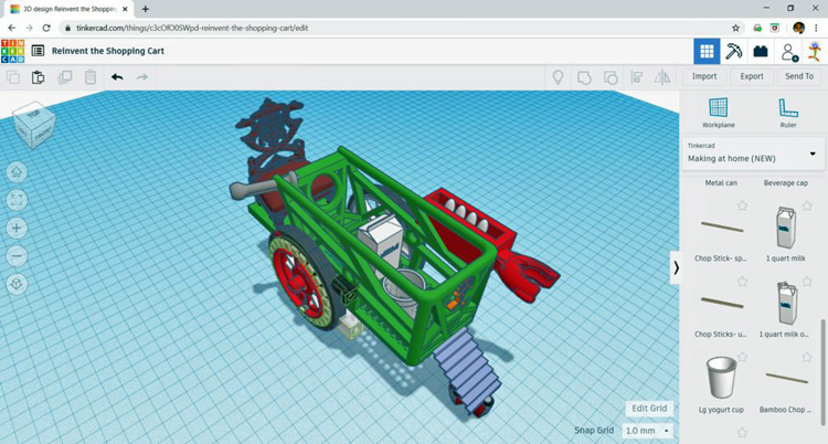 Tinkercad computer screen with shopping cart components in sidebar