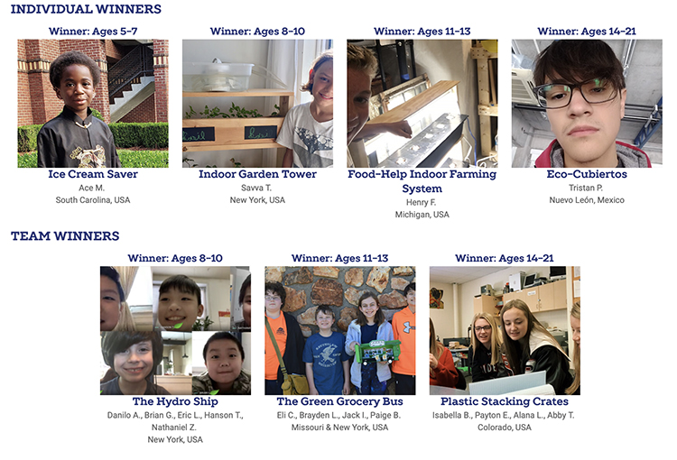Screenshot of individual and team winners of Invent It Challenge