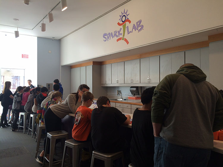 A crowded Spark!Lab at the Anchorage Museum