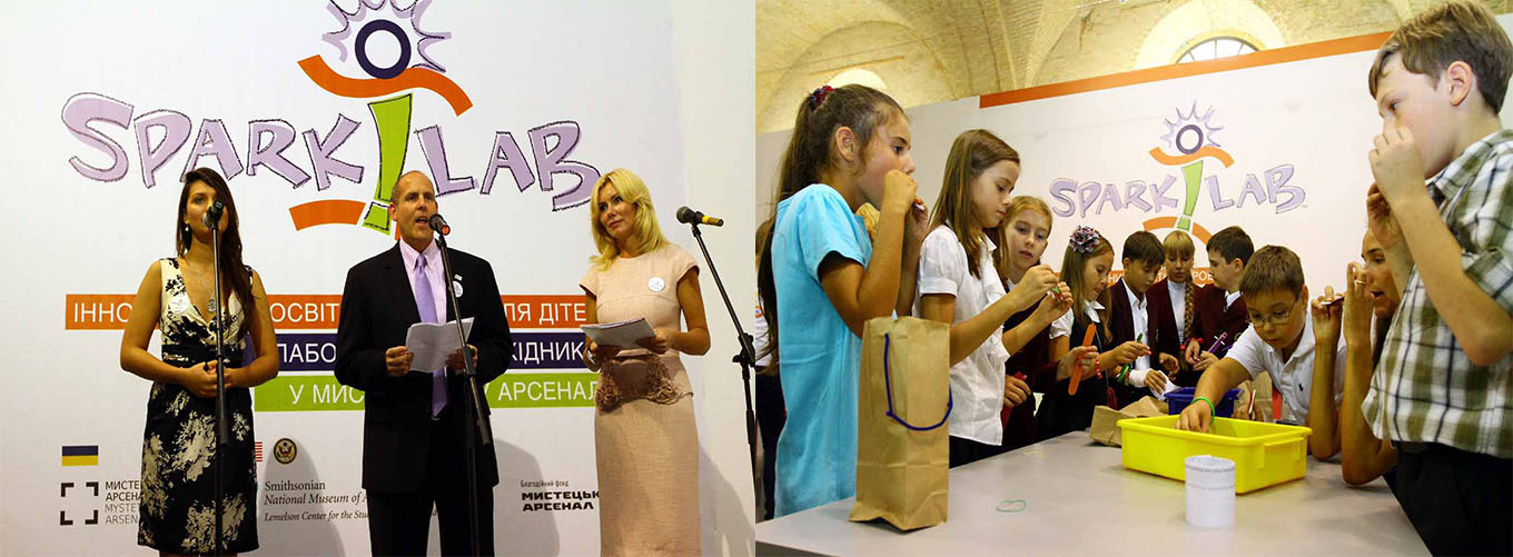 Left: Deputy Director Jeff Brodie gives remarks at opening event. Right: Ukrainian school children doing Spark!Lab activities.