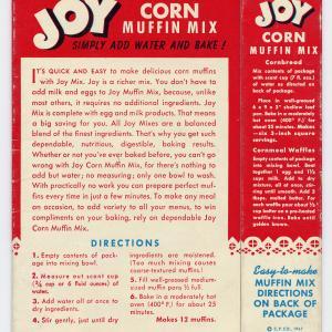 Image of back of Joy brand corn muffin mix box